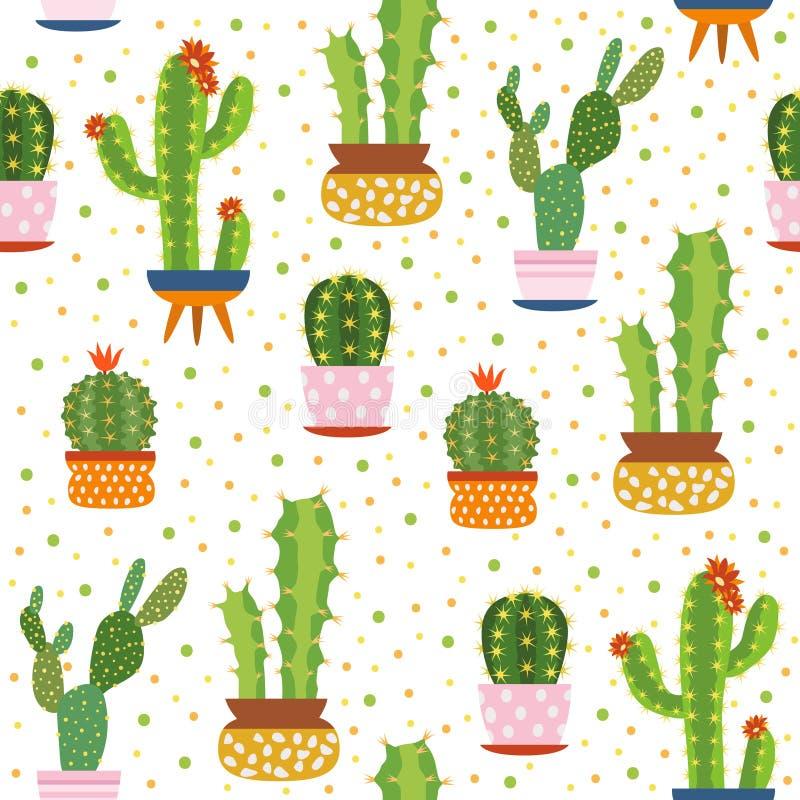 仙人掌无缝的样式 尖刻的仙人掌,沙漠植物明亮的重复的纹理逗人喜爱的花印刷品芦荟维拉植物的传染媒介 库存例证