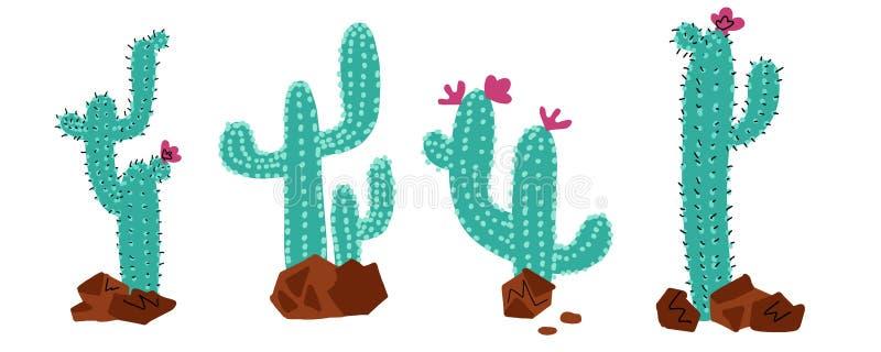 仙人掌汇集集合 仙人掌植物,传染媒介点刻法手拉的乱画颜色概念 与花和石头的狂放的沙漠仙人掌 向量例证