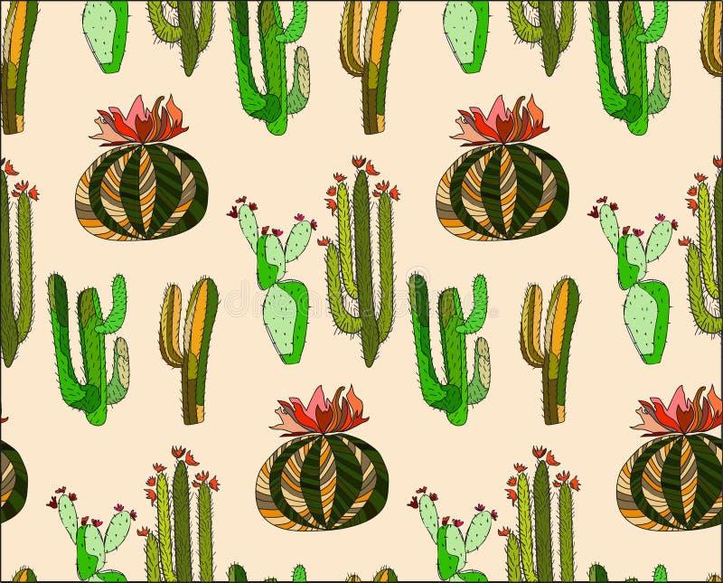 仙人掌油漆的抽象可爱的墨西哥热带花卉草本夏天绿色套喜欢米黄背景的孩子 皇族释放例证