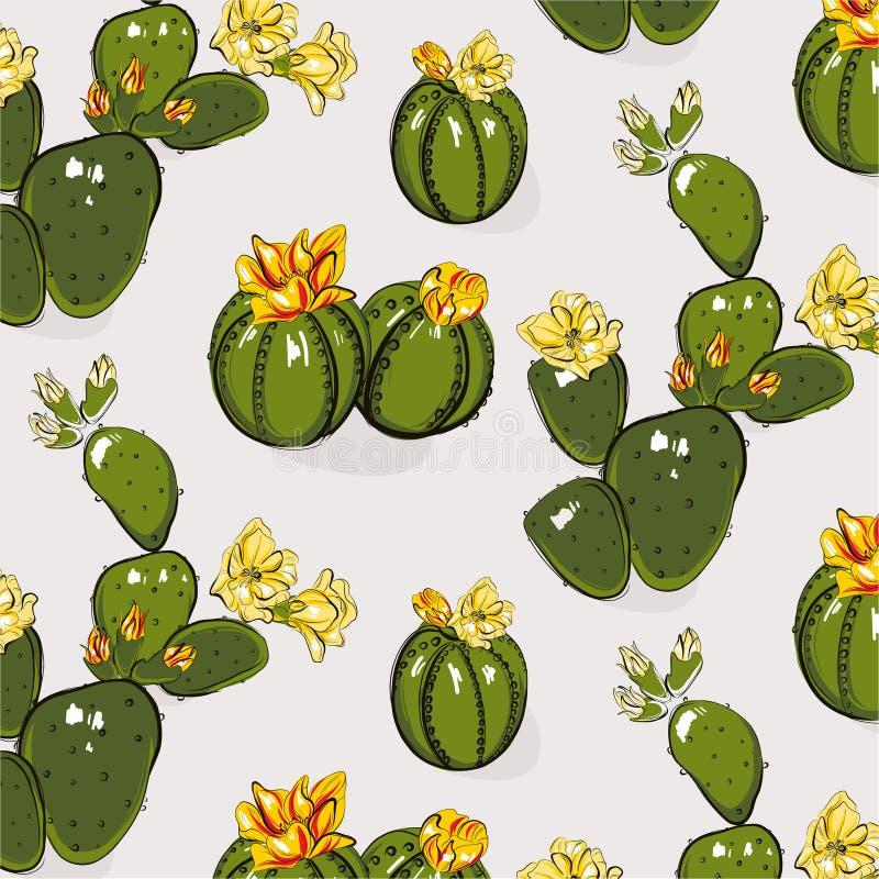 仙人掌绿叶绽放黄色灰色夏天样式 与花的对比手拉的多汁仙人掌 明亮的花卉剪影 库存例证