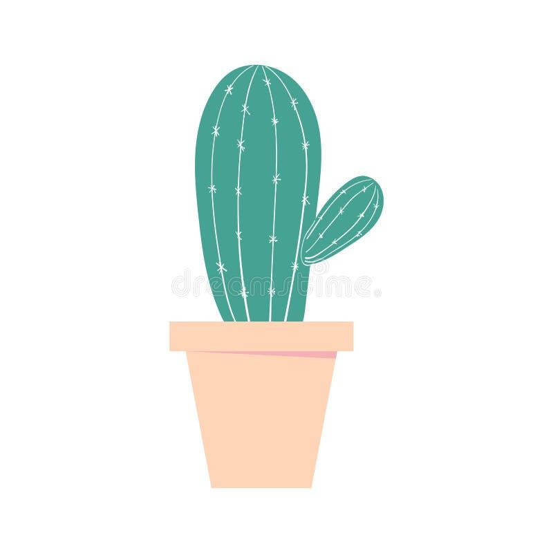 仙人掌罐 家庭逗人喜爱的植物 被隔绝的彩色插图 皇族释放例证