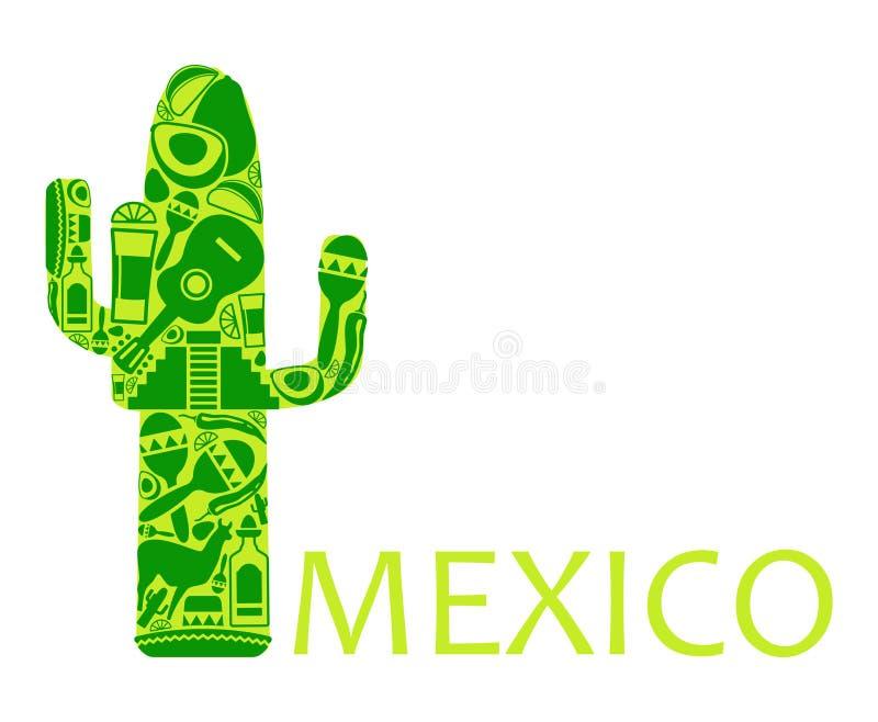 仙人掌-墨西哥的符号 向量例证