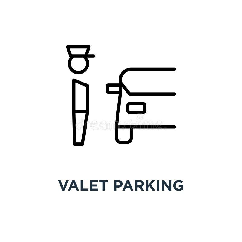代客停车象 线性简单的元素例证 服务员pa 向量例证