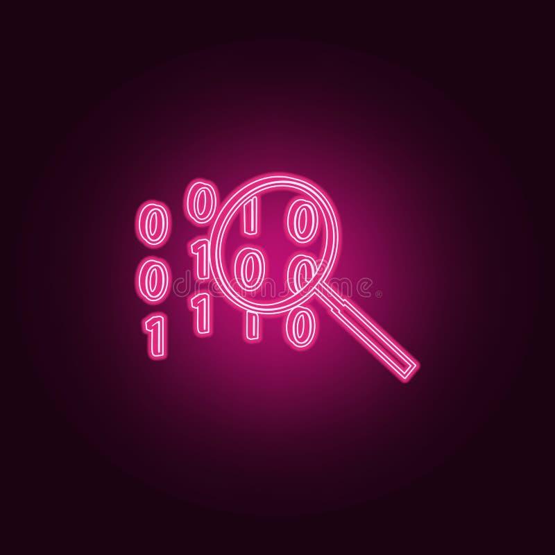 代码查寻象 网络安全的元素在霓虹样式象的 网站的简单的象,网络设计,流动应用程序,信息图表 向量例证