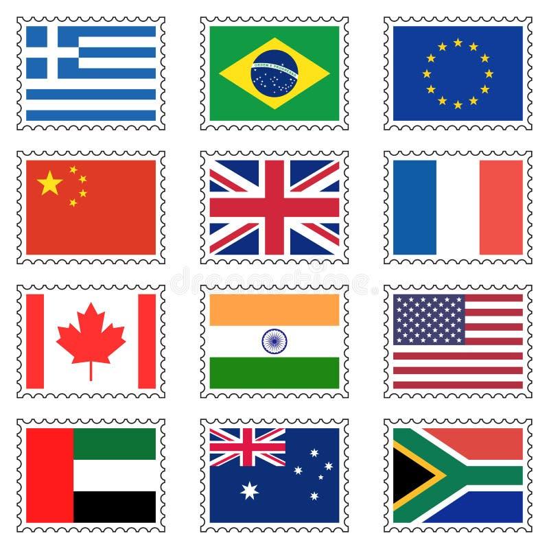 代表世界旗子的邮票,隔绝在白色背景,传染媒介例证 皇族释放例证