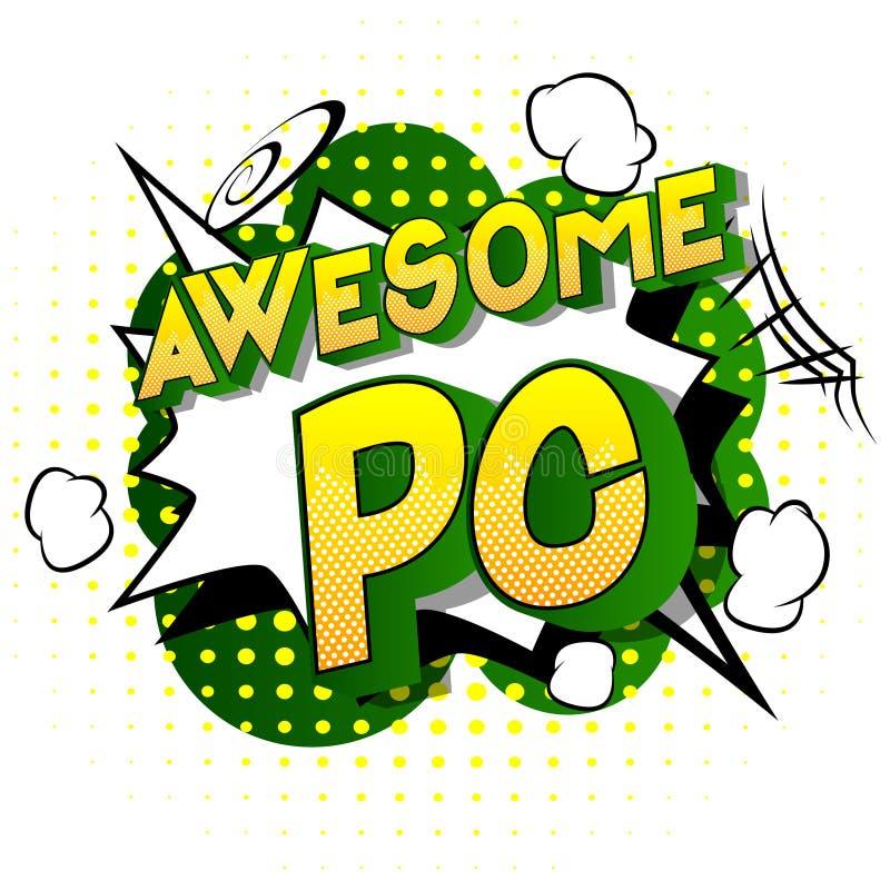 代表个人计算机的令人敬畏的个人计算机首字母缩略词-漫画样式词 向量例证
