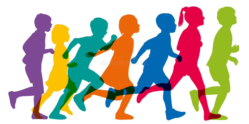 代表儿童赛跑的颜色剪影 向量例证
