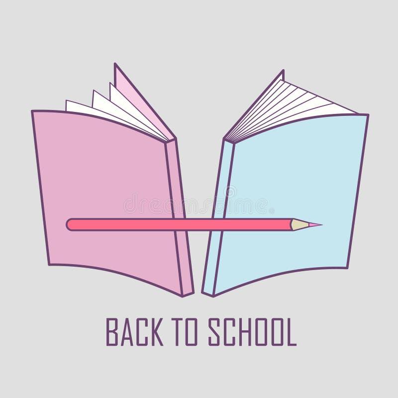 代表回到学校的柔和的商标例证 学校材料的传染媒介图象:书和铅笔 库存例证