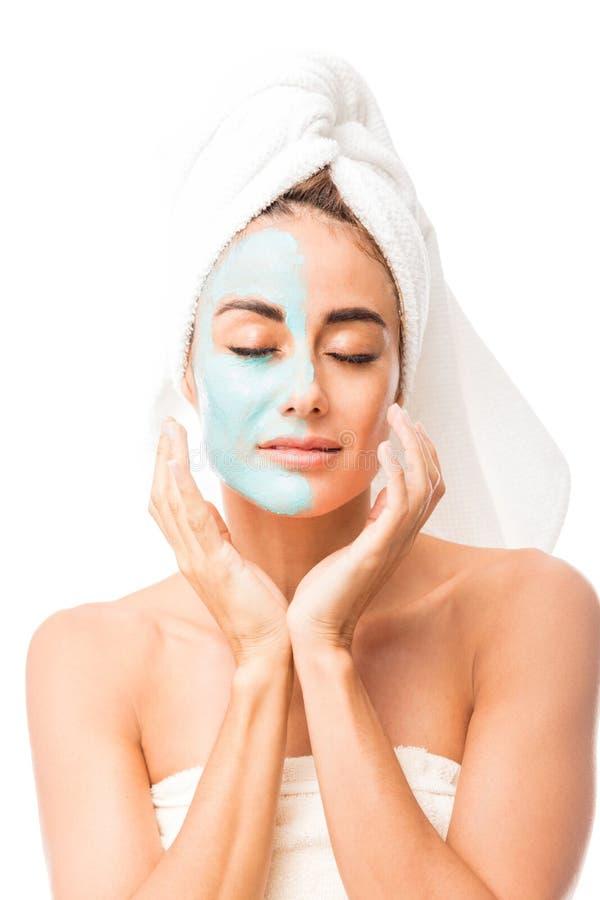 代表皮肤护理概念的可爱的妇女 库存照片