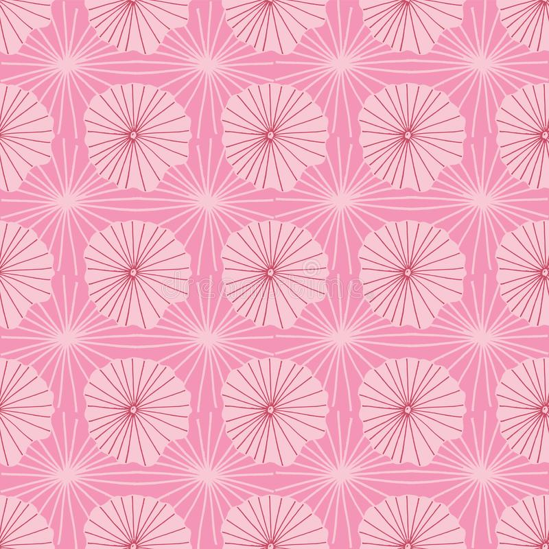 代表莲花叶子或水母在蜡染布部族样式的抽象有机形状的桃红色传染媒介无缝的重复样式 库存例证