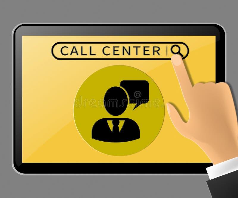 代表顾客服务3d例证的电话中心片剂 向量例证