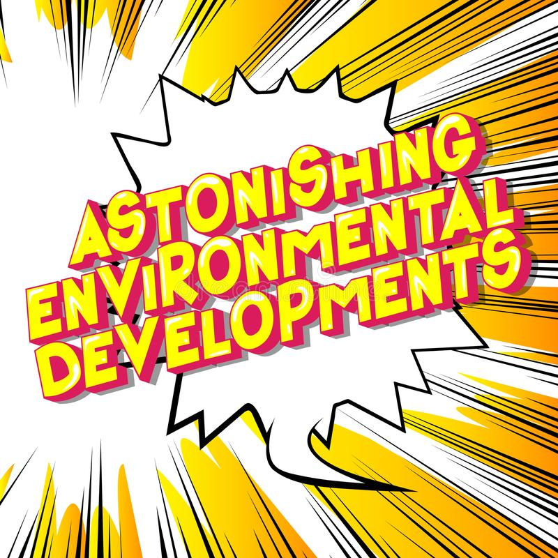 令人惊异的环境发展-漫画样式词 向量例证