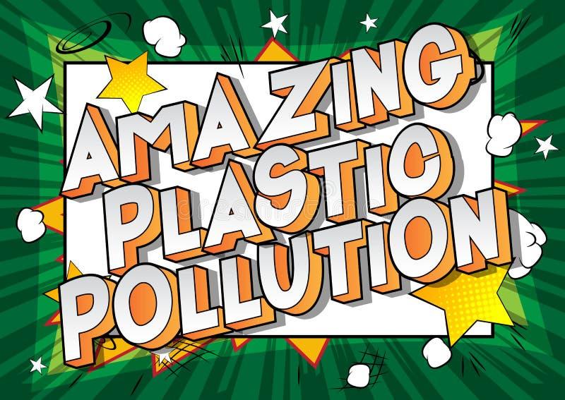 令人惊讶的塑料污染-漫画样式词 皇族释放例证