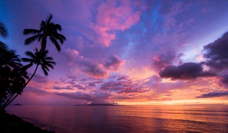 令人惊讶的夏威夷日落 库存图片