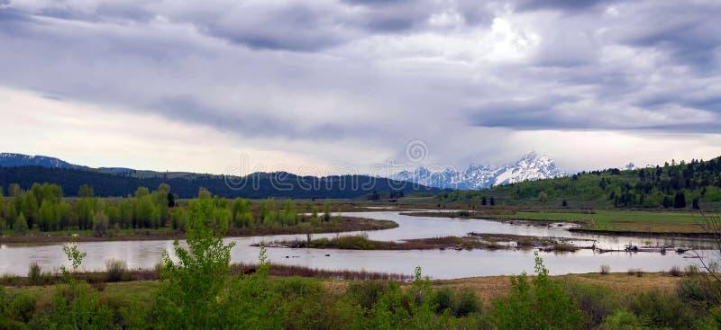 令人惊讶的山在大蒂顿国家公园 免版税库存图片