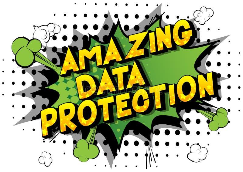 令人惊讶的数据保护-漫画样式词 向量例证