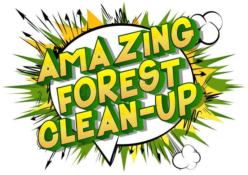 令人惊讶的森林清洁-漫画样式词 皇族释放例证