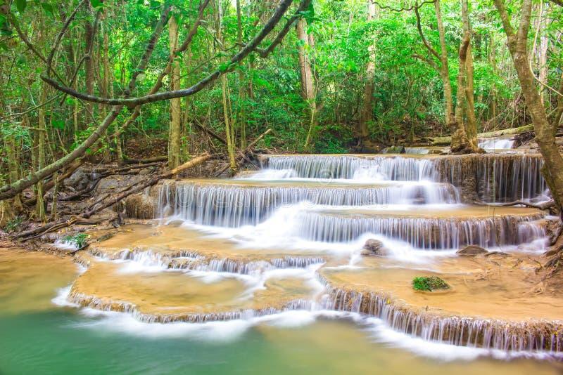令人惊讶的瀑布在国立公园热带森林里,Huay Mae Khamin瀑布,北碧府,泰国 免版税库存照片