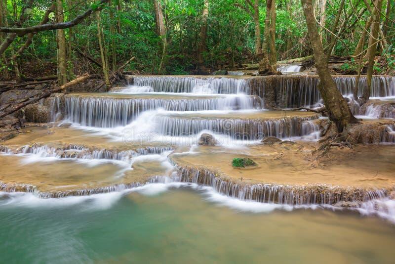 令人惊讶的瀑布在国立公园热带森林里,Huay Mae Khamin瀑布,北碧府,泰国 免版税库存图片