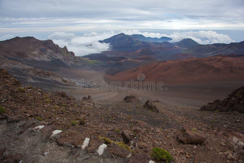 令人惊讶的风景哈莱阿卡拉火山毛伊夏威夷 免版税库存照片