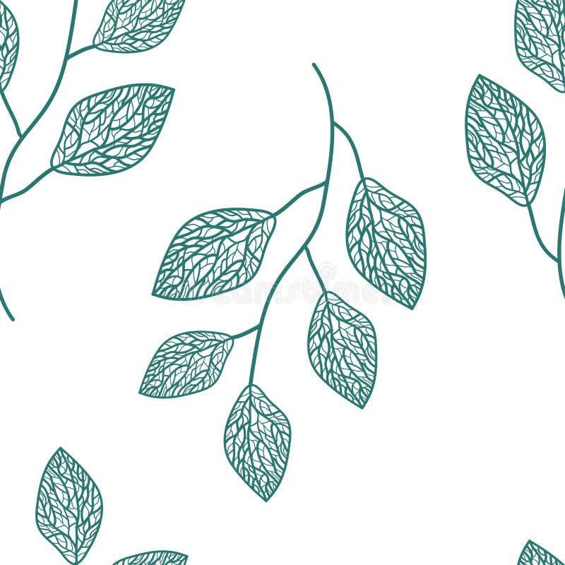 令人愉快的庭院无缝的样式 无缝叶子的模式 向量例证