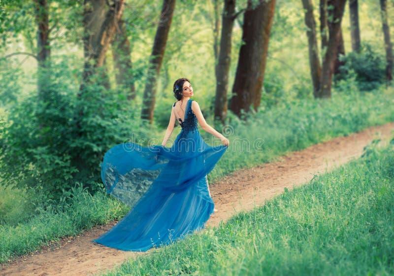 令人愉快的柔和的舞女,一位年轻美丽的公主沿秘密森林道路走 夫人举吊边  免版税库存照片