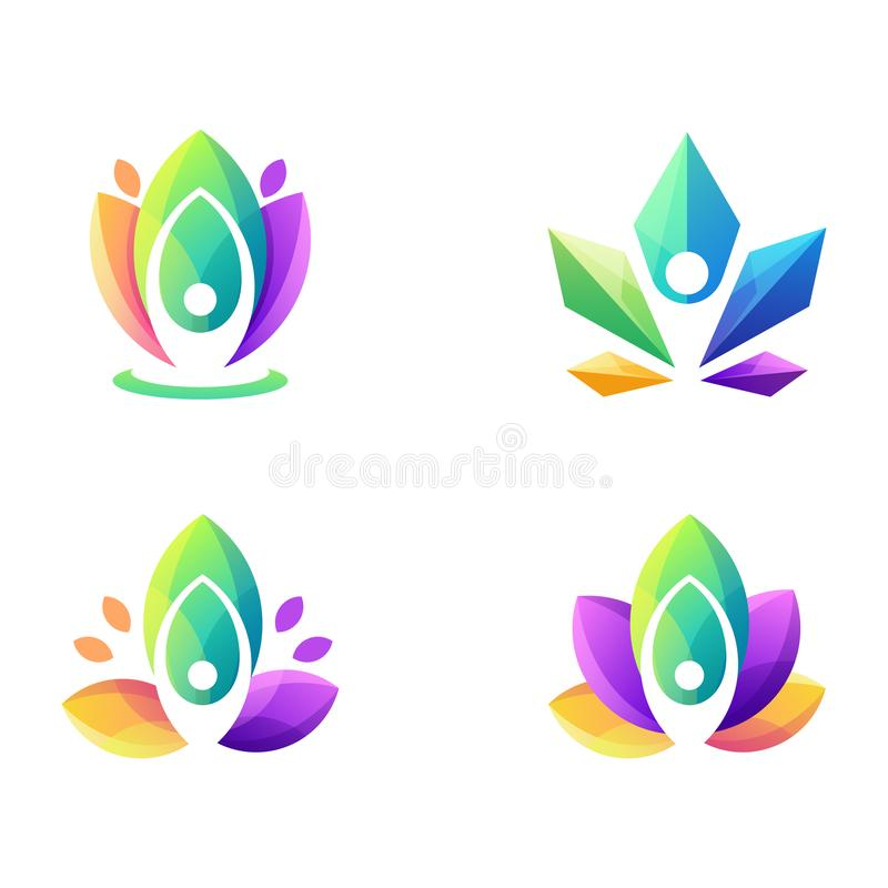 令人敬畏的五颜六色的瑜伽商标设计 皇族释放例证