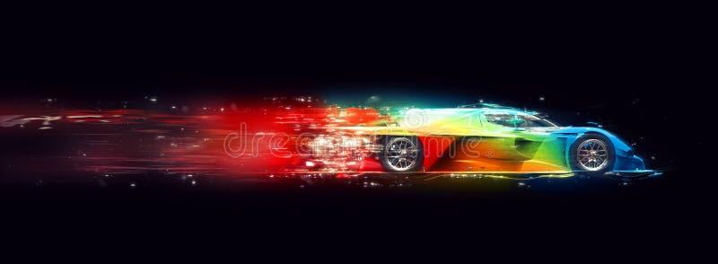 令人敬畏的五颜六色的超级快速的种族车的宇宙足迹作用 向量例证
