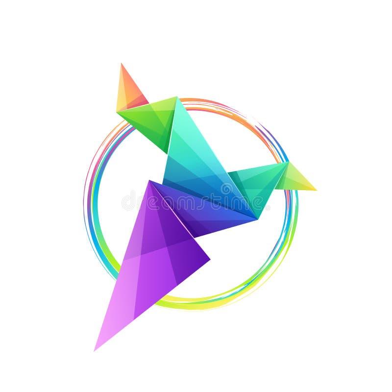 令人敬畏的五颜六色的origami鸟商标设计 向量例证