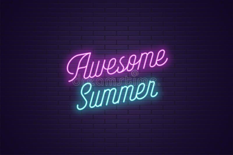 令人敬畏的夏天霓虹字法  发光的文本 向量例证