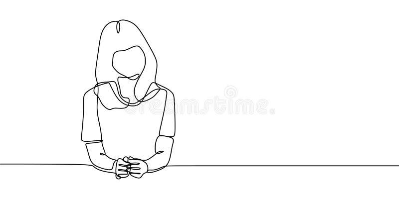 令人敬畏的女孩典雅的听的和坐的连续的一线描传染媒介例证minalistic设计 库存例证