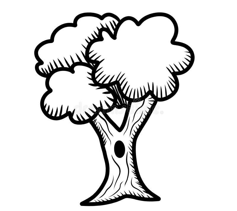 令人敬畏的树乱画 向量例证