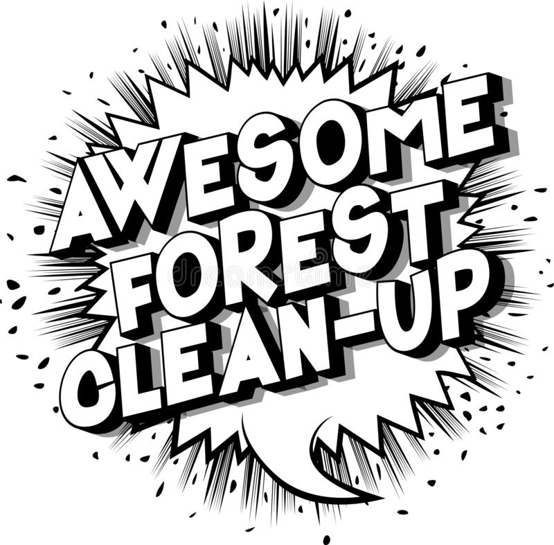 令人敬畏的森林清洁-漫画样式词 皇族释放例证