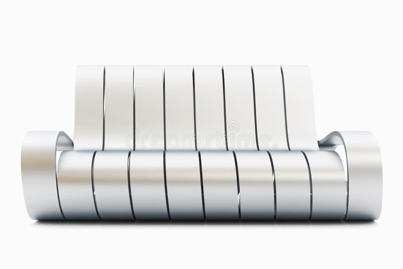 令人敬畏的背景长沙发金属白色 向量例证