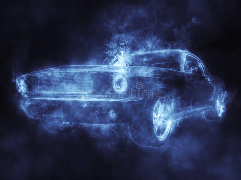 令人敬畏的葡萄酒肌肉车的蓝色烟 皇族释放例证