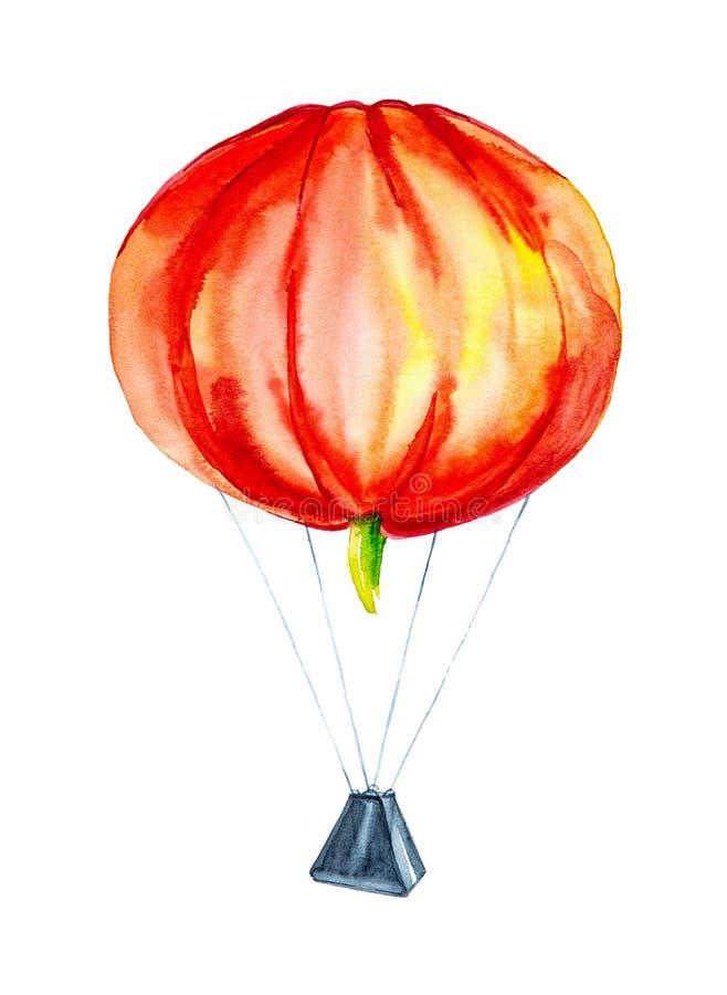 以一个气球的形式南瓜有篮子的 在白色背景隔绝的可笑的水彩例证 向量例证