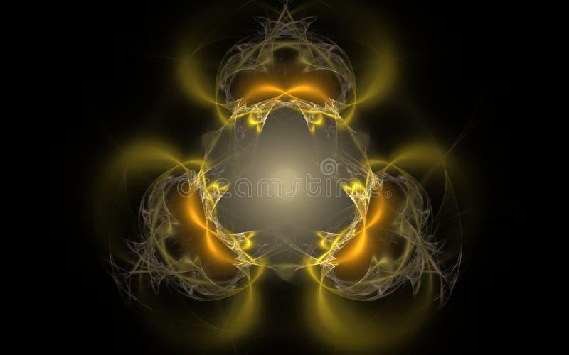 以一件对称金黄装饰品的形式抽象样式与对黑背景的迷离作用 库存照片