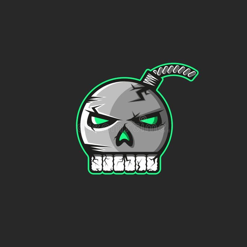 以一块人的头骨有牙贴纸的,一个印刷品的一个海盗商标的形式炮弹象征在T恤杉 向量例证