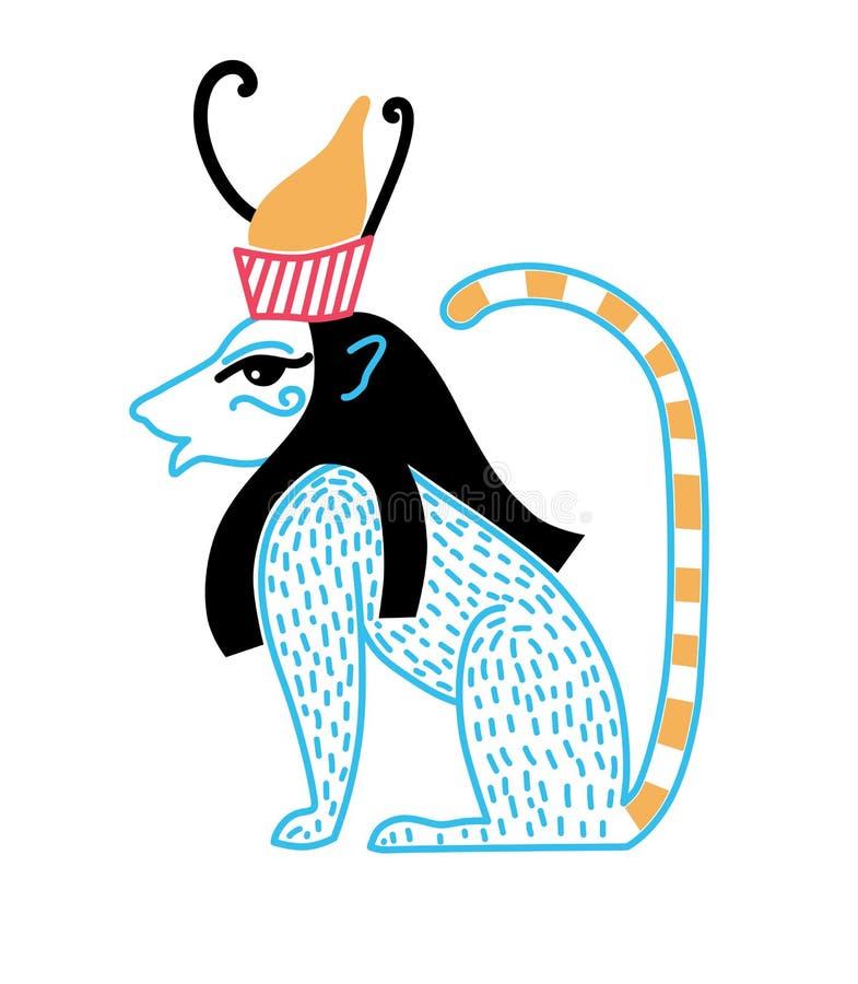 以一头蓝色狮子的形式埃及神与冠 库存例证