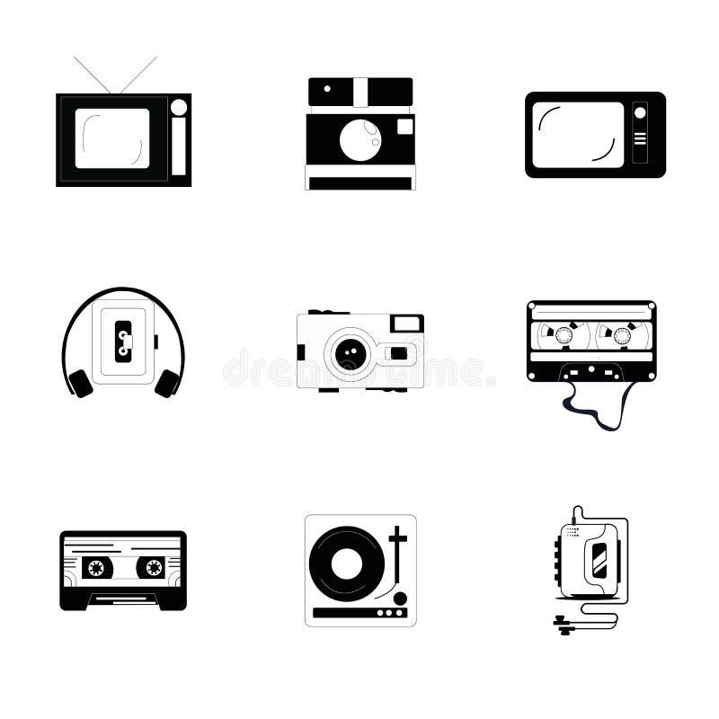 以一套的老多媒体9个单色象的形式 球员,电视,照相机,卡式磁带 皇族释放例证