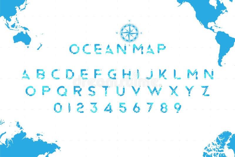 以一张世界地图的形式原始的海字体与在背景的一个减速火箭的指南针 拉丁字母和数字为 向量例证