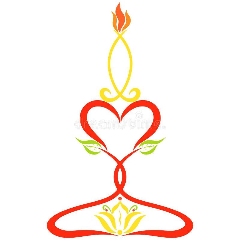 以一条符号鱼的形式燃烧的蜡烛在有百合的一个烛台 向量例证