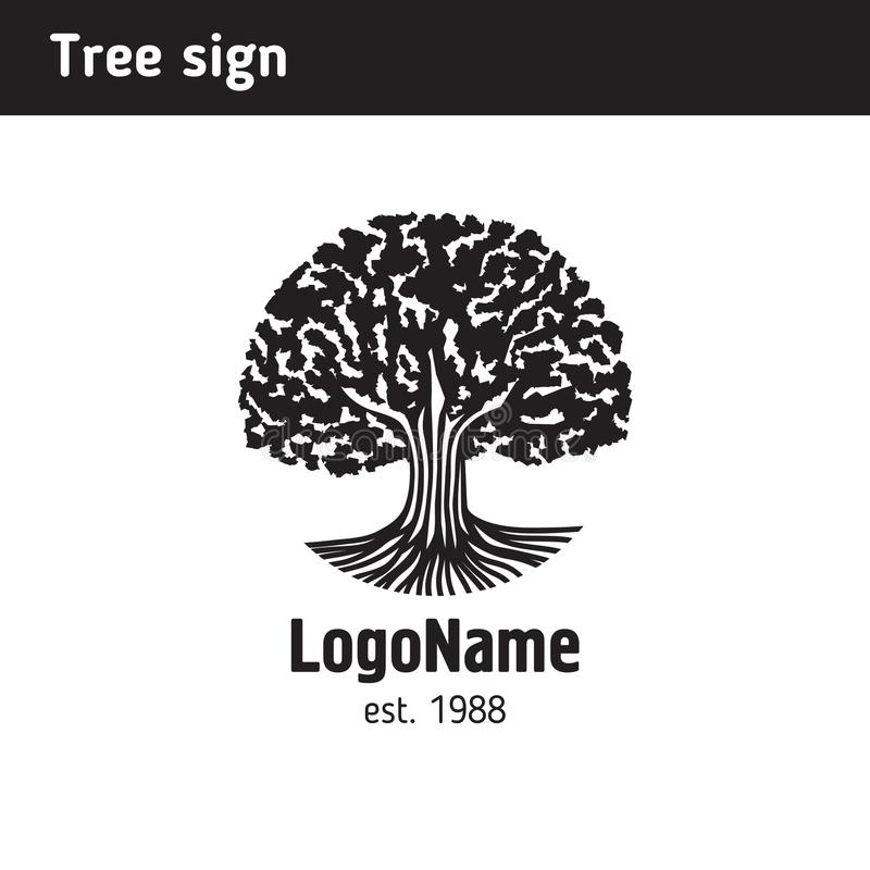 以一棵老树的形式商标与根 库存例证