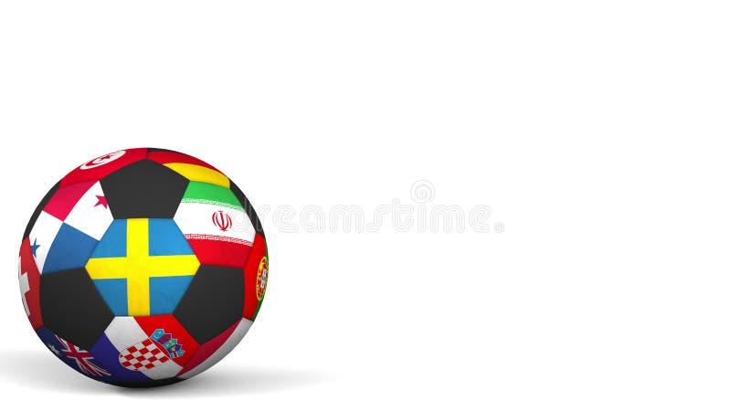 以不同的国家队为特色的橄榄球球重读瑞典的旗子 3d翻译 免版税库存照片