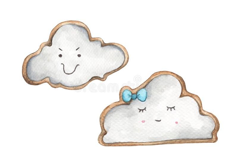 以云彩的形式曲奇饼 食物例证 皇族释放例证