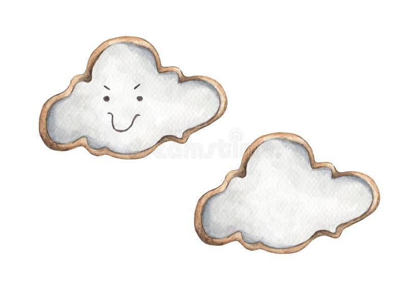 以云彩的形式曲奇饼 食物例证 向量例证