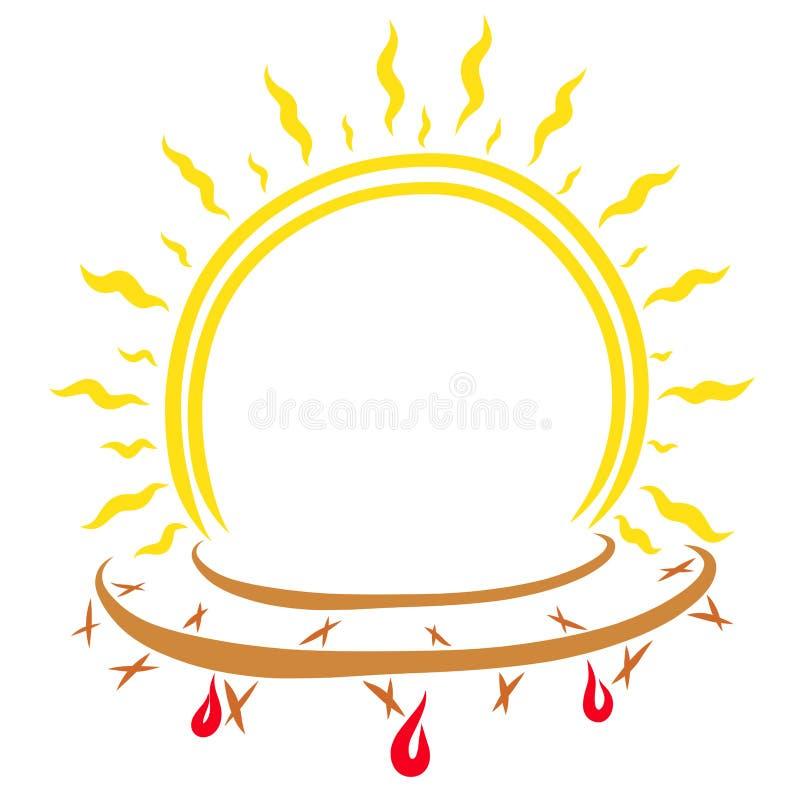 以光亮的太阳的形式框架与铁海棠 向量例证