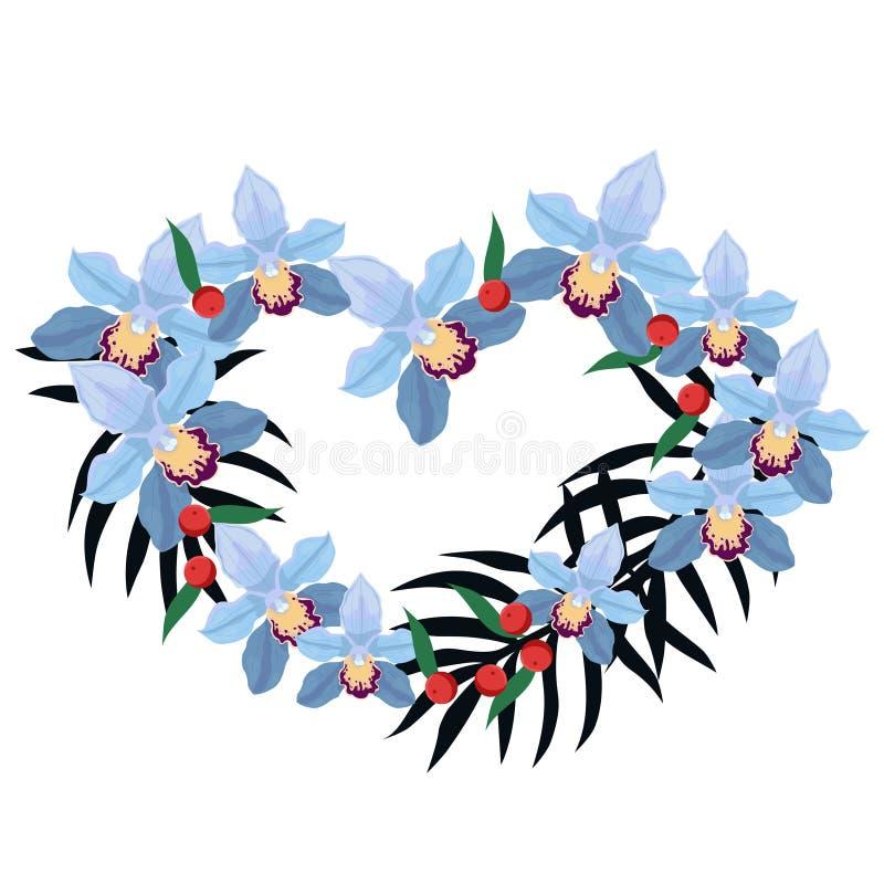 以兰花和棕榈叶的形式心脏的框架 E r 向量例证