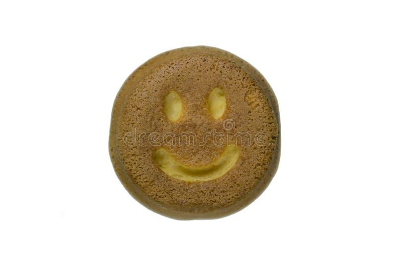 以兴高采烈的圆形的形式曲奇饼在白色背景 库存照片
