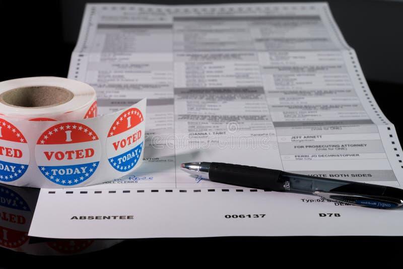 以单词为重点的州缺席选民投票表 免版税图库摄影
